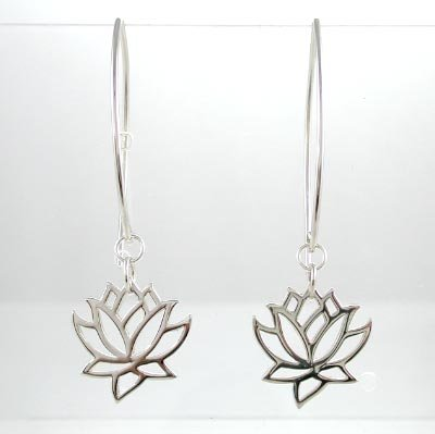 Cut Out Design Lotus Flower Dangle Earrings in Sterling Silver, #8373
