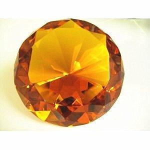 "Beautiful Orange Shining Glass Diamond Paperweight 3"" 80mm Great Christmas Gift"