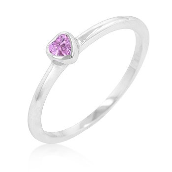 RIGHT HAND RING - White Gold Rhodium Bonded Solitaire Heart Ring with Pink Cubic Zirconia in Bezel Setting
