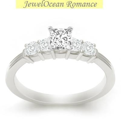 0.58 Carat Cheap Diamond Engagement Ring with Princess cut Diamond on 18K White gold