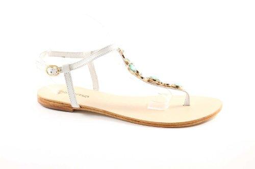 GEMMA 604 white sandali donna cuoio infradito pelle diamanti 39