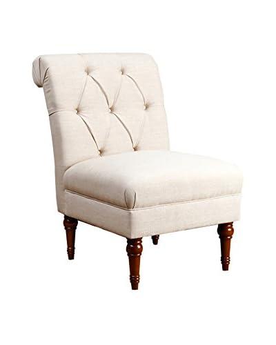 Abbyson Living Sienna Tufted Slipper Chair, Wheat