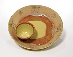 Aspen Leaf Chip and Dip with Autumn Leaf Glaze