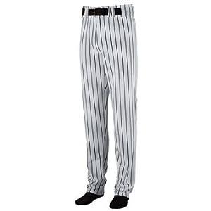 Striped Open Bottom Baseball Softball Pants - 2XL - BLACK & GREY by Augusta