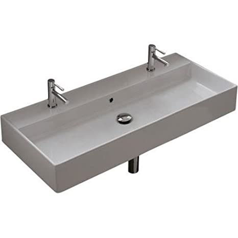 Scarabeo Scarabeo 8031/R-100B-2Hole-637509879839 Luxury Wall Mounted Ceramic Sink, White
