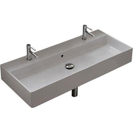 Scarabeo Scarabeo 8031/R-100B-2Hole-637509879839 Luxury Wall Mounted Ceramic Sink, White