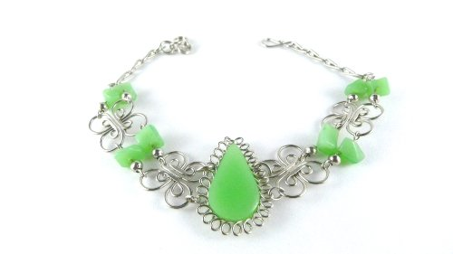 Alpaca Silver and Semi Precious Lime Green Stones Bracelet [Peruvian Collection]