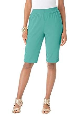 Roamans Women's Plus Size Bermuda Shorts (Aquatic Green,S)