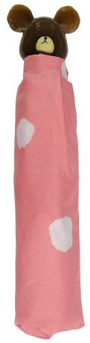 サンマルコ 【顔型グリップが可愛い】 くまのがっこう 立体手元付折りたたみ傘 水玉柄 ピンク 53cm