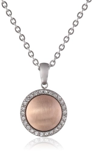 "Stainless Steel Rose Gold Plated Satin Finish Round Crystal Pendant Necklace, 16""+2"" Extender"