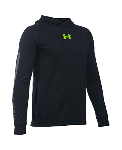 Under Armour Boys' Waffle Hoodie, Black (001), Youth Large