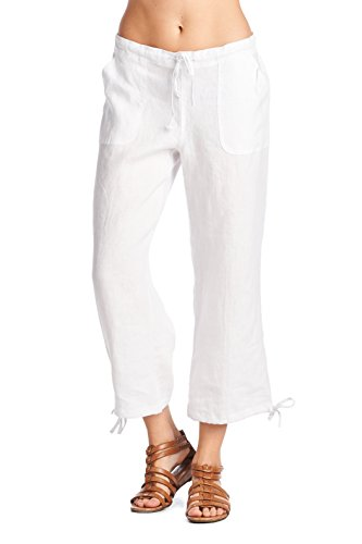 058bff528b0c26 High Style Women's Casual 100% linen capri pants with - Import It All