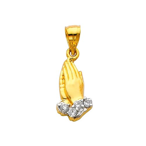 14K Yellow and White 2 Two Tone Gold Praying hands Religious Charm Pendant