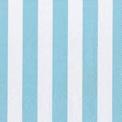 PrettyurParty Striped Paper Napkins (13 x 13) - Blue