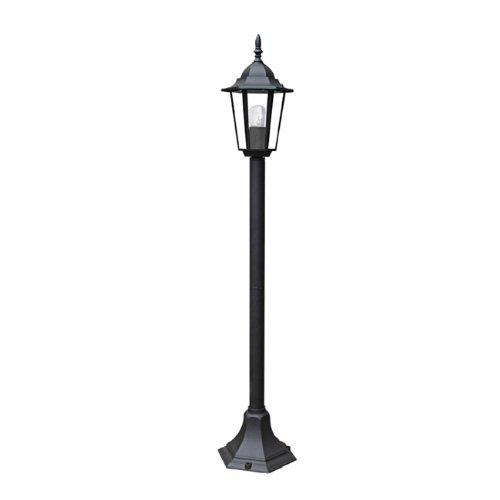 Lampione in alluminio palo luce a lanterna moderna da esterno 105.5 cm nero