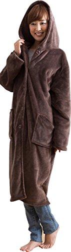 mofua モフア プレミアム マイクロファイバー 着る 毛布 フード付(ルームウェア) 着丈110cm ブラウン 48476406