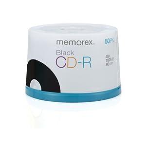 Memorex 700MB/80-Minute 48x CD-R Media Black, 50-Pack Spindle