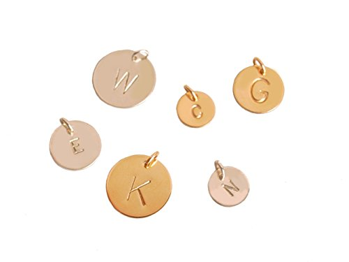 Extra Initial, Different Size Charm in Sterling Silver or Gold Filled, Add Custom Initial to Any Necklace (gold-filled, 12.7 Millimeters) (Custom Charms compare prices)