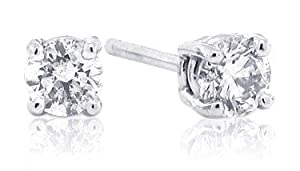 1/3 Carat Total Weight Round Diamond Stud Earrings in 14Kt White Gold (GH-I1)-W
