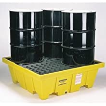 "Eagle 1640 4 Drum Containment Spill Pallet, 8000 lbs Capacity, 52-51/128"" Length x 51-1/2"" Width x 13-3/4"" Height"