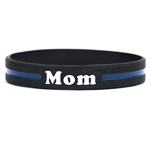 Mom Thin Blue Line Silicone Wristband Bracelets Police Officers Patrol Awareness Support (Thin Blue Line Bracelet compare prices)