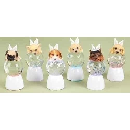 Club Pack of 12 LED Lighted Angel Puppy Christmas Glitterdome Snow Globes 3.75