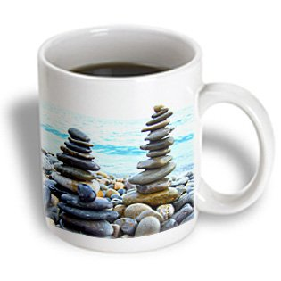 Inspirationzstore Photography - Three Zen Stone Towers On Pebble Beach - Harmony - Balance - Stacked Polished Rocks - Tranquility - 15Oz Mug (Mug_157791_2)