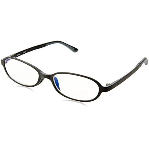 (シニアグラスコレクション)Senior Glasses Collection PC老眼鏡 ウルテムフレーム(特殊プラスチック素材) ブルーライトカット 超軽量。超耐久。 PCRU-002  ブラック 度数:+1.5