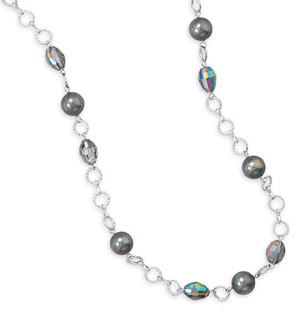 36 inch Fashion Necklace, 11.5mm Shell Base Peacock Pearls, 9x12mm Crystals