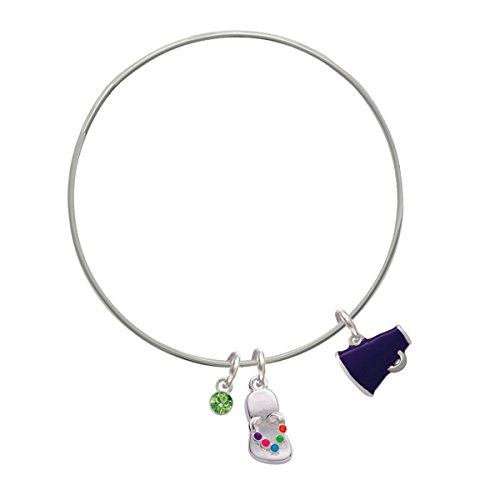 Small Purple Megaphone Lime Green Crystal And Flip Flop Charm Bangle Bracelet