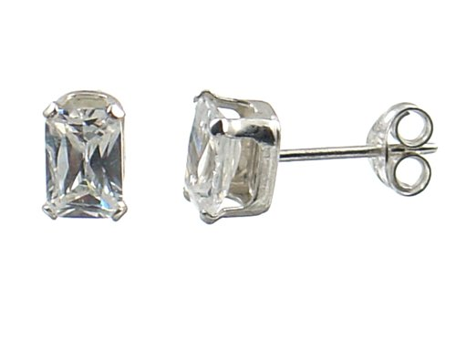 5x7mm White Color Square Cz Sterling Silver .925 Stud Earrings