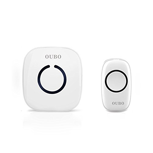 OUBO LED Klingel drahtlos weiß Türklingel mit 52 Melodien Türgong Funkgong Klingelknopf Klingeltaster bis 100 Meter Reichweite 1 Empfänger& 1 Sender