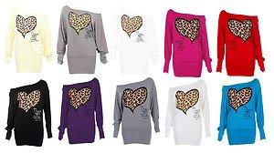 Fashion 4Less Nuovo Da Donna Maniche Lunghe Off/On Spalla Leopard Cuore Stampa maglia Batwing Top Black Small