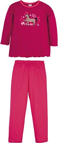 Kinderbutt Schlafanzug mit Druckmotiv Pferd Jersey rubin Größe 122 / 128