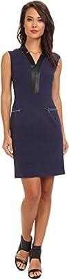 Marc New York by Andrew Marc Women's Deep V-Neck Cap Sleeve Zip Pocket Dress MD4X8395