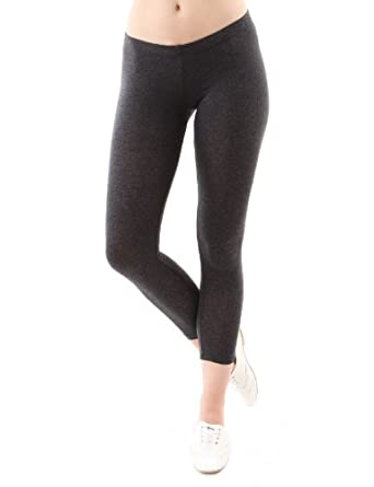 Doublju Crop Leggings in Fine Stretch Cotton CHARCOAL (US-S)