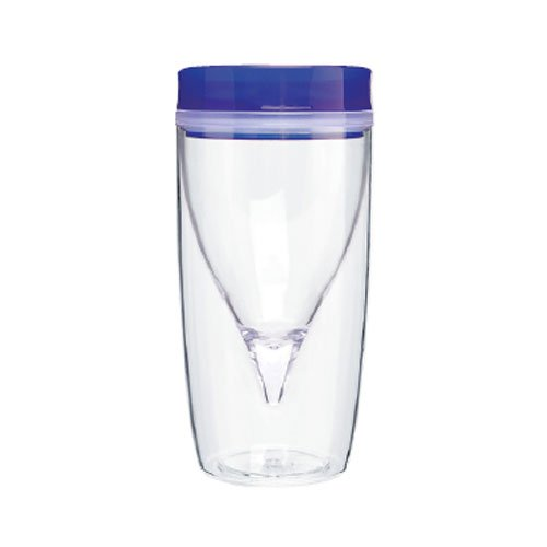 Vino On The Go Cold Drink Tumbler - Double Wall Tumbler, 8.5Oz. Capacity - Blue front-940559