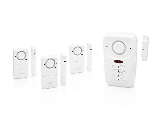SABRE Wireless Home Security Burglar Alarm Set - Includes LOUD 120 dB Keypad Alarm with Three Additional Door/Window Alarms - DIY EASY Installation (Security Alarm Sensor compare prices)