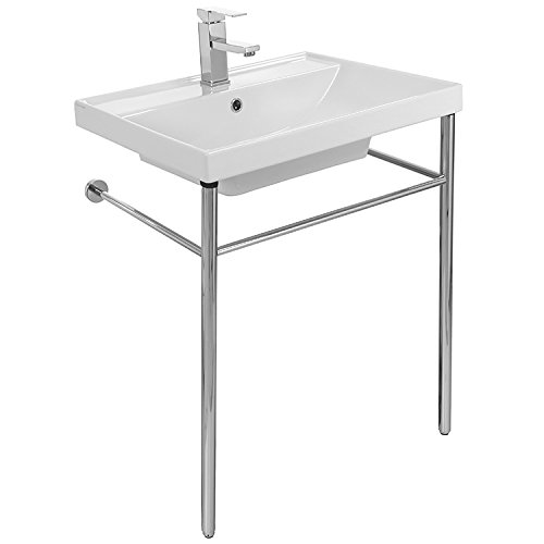 Rectangular Console Ceramic Sink and Polished Chrome Stand