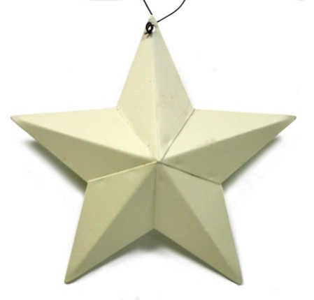 Primitive Cream Painted Dimensional Barn Star Ornaments on Wire Hanger- Package of 4