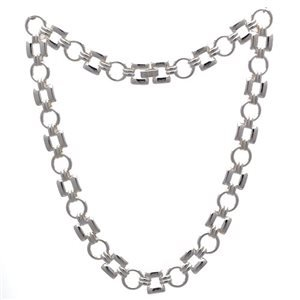 Circles & Squares Silver Plated Choker Necklace