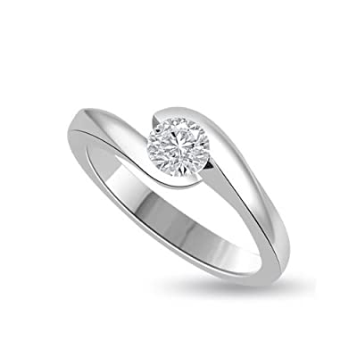 0.20 carat Diamond Engagement Ring for Women. H/SI1 Solitaire Round Brilliant Diamond in 18ct White Gold