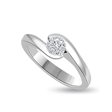 0.20ct H/SI1 Solitaire Diamond Engagement Ring for Women with Round Brilliant cut Diamonds in 18ct White Gold
