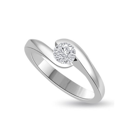 Infinity Jewellery 0.20ct Solitaire Diamond Engagement Ring in a Rubover Setting G/VS1 in 18ct white gold - H