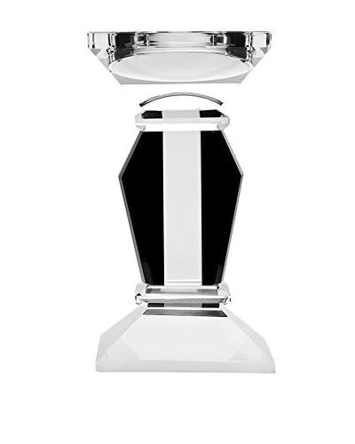 """Godinger 6.75"""" Vogue Candlestick, Black/Clear"""