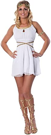 Delicious Women's Grecian Goddess Sexy Costume, White, Large/X-Large
