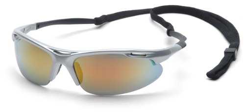 Pyramex Avante Safety Eyewear, Ice Orange Mirror Lens With Silver Frame And Cord