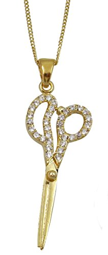 Barber Necklace : Barber Hair Dresser Scissors Shears Gold Tone Charm Necklace ...