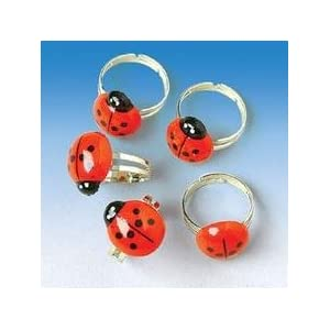 Click to buy 12 Adorable LADYBUG Rings/Adjustable Children's BIRTHDAY PARTY FAVORS/3/4