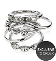 M&S Collection Platinum Plated Diamanté Stack Rings